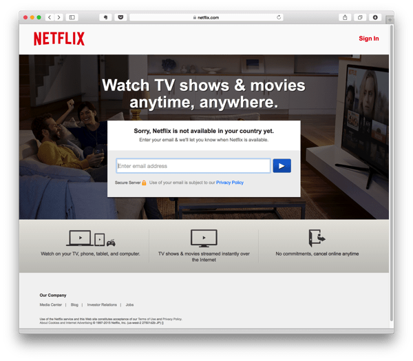 Netflix is not available in Japan