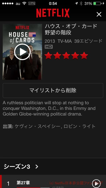 House of Cards マイリストに登録してみた